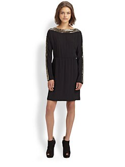 BCBGMAXAZRIA - Marcel Sequin-Trimmed Dress