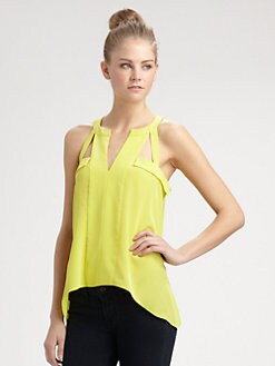 BCBGMAXAZRIA - Cutout Sleeveless Silk Blouse