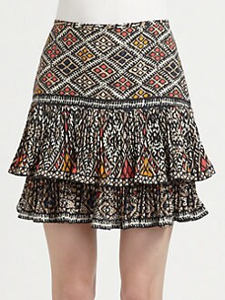 BCBGMAXAZRIA - Tiered Tribal Skirt