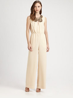 BCBGMAXAZRIA - Beaded Neck Jumpsuit