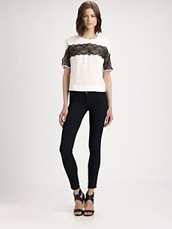 BCBGMAXAZRIA - Edith Lace Insert Shirt