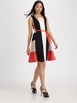 BCBGMAXAZRIA - Brit Draped Colorblock Dress