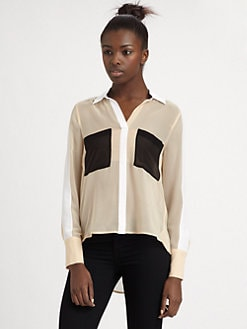 BCBGMAXAZRIA - Colorblock Silk Blouse