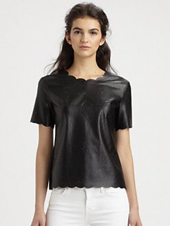 BCBGMAXAZRIA - Eyelet Faux Leather Top