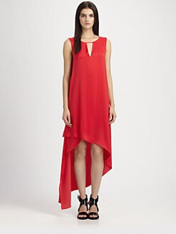 BCBGMAXAZRIA - Willow Asymmetric Matte Satin Dress