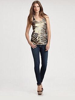 BCBGMAXAZRIA - Margot Zebra-Sequined Tank Top
