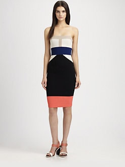 BCBGMAXAZRIA - Reese Strapless Colorblock Stretch Jersey Dress