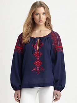 BCBGMAXAZRIA - Irina Embroidered Cotton Blouse