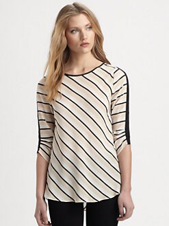 BCBGMAXAZRIA - Maya Silk Striped Draped-Back Top