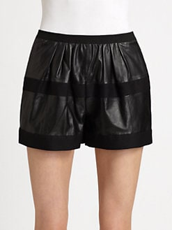 BCBGMAXAZRIA - Annika Leather Panel Shorts