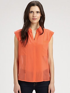 BCBGMAXAZRIA - Addison Sheer Silk Blouse