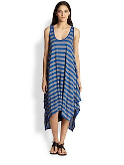 BCBGMAXAZRIA - Mylene Striped Handkerchief-Hem Trapeze Dress