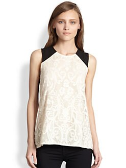 BCBGMAXAZRIA - Paneled Lace Top