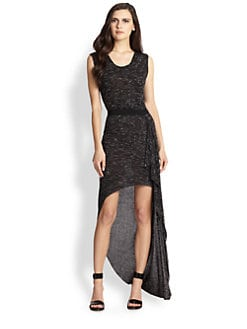 BCBGMAXAZRIA - Hi-Low Hem Marled Stretch Jersey Dress