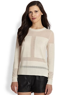 BCBGMAXAZRIA - Geometric Paneled Sheer Wool-Blend Sweater