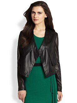 BCBGMAXAZRIA - Perforated Faux Leather Jacket