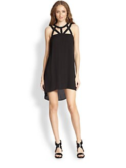 BCBGMAXAZRIA - Cutout Hi-Low Chiffon Dress