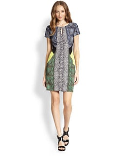 BCBGMAXAZRIA - Colorblock Snake-Print Dress
