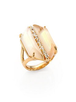 Alexis Bittar - Mother-of-Pearl Doublet & Crystal Cocktail Ring