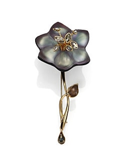 Alexis Bittar - Imperial Lucite, Black Moonstone, Pyrite & Crystal Lace Charm Flower Pin