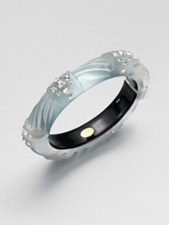 Alexis Bittar - Radiant Lucite & Swarovski Crystal Bangle Bracelet/Medium Grey Blue