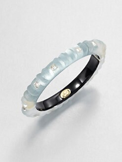 Alexis Bittar - Ribbed Lucite & Swarovski Crystal Bangle Bracelet/Grey Blue