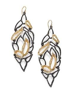Alexis Bittar - Elements Dark Phoenix Crystal Articulated Leaf Drop Earrings