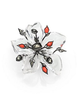 Alexis Bittar - Cubist Lucite, Pyrite & Crystal Spiked Flower Pin
