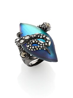 Alexis Bittar - Imperial Noir Lucite & Crystal Lace Snake Marquis Ring