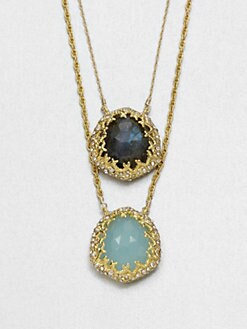 Alexis Bittar - Chalcedony and Labradorite Double Pendant Necklace
