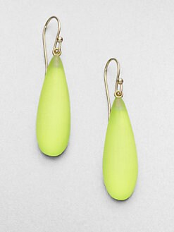 Alexis Bittar - Smooth Raindrop Earrings/Neon Yellow