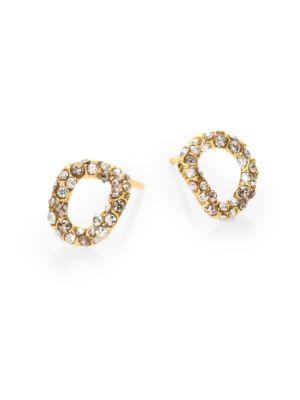 Elements Jardin De Papillon Crystal Link Stud Earrings / Goldtone