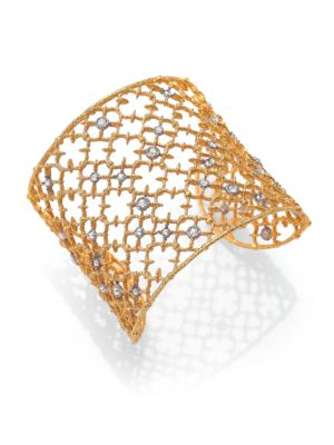 Elements Gilded Muse Crystal Studded Lace Cuff Bracelet