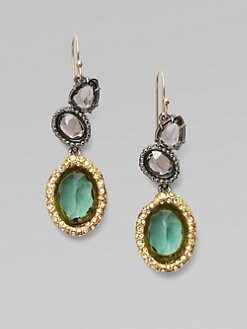 Alexis Bittar - Pave Swarovski Crystal Accented Tourmaline Drop Earrings