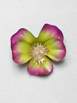Alexis Bittar - Lucite, Moonstone and Crystal Pansy Pin