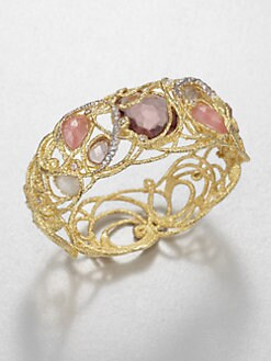 Alexis Bittar - Semi-Precious Multi-Stone & 18K Gold Lace Bangle Bracelet