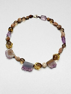 Alexis Bittar - Pink Amethyust and Striped Agate Multi-Bead Necklace