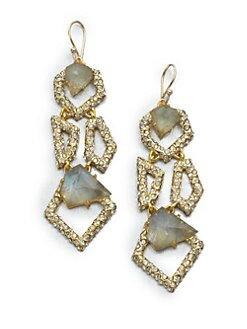Alexis Bittar - Geometric Labradorite and White Quartz Earrings