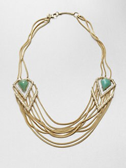 Alexis Bittar - Chrysoprase Shield Multi-Row Chain Necklace