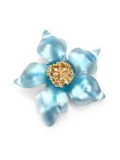 Alexis Bittar - Lucite & Crystal Clematis Flower Pin