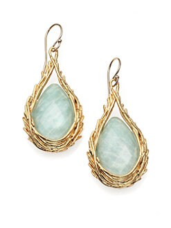 Alexis Bittar - Amazonite Doublet Feathered Teardrop Earrings
