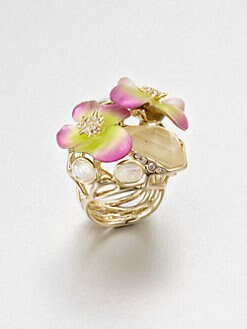 Alexis Bittar - Lucite, Citrine and Mother-of-Pearl Pansy Ring