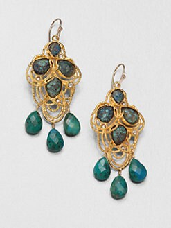 Alexis Bittar - Cordova Crystal & Chrysocolla Drop Earrings