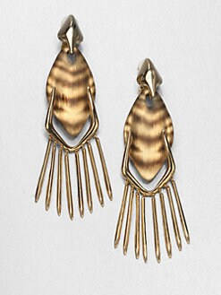 Alexis Bittar - Tiger Striped Lucite Fringe Clip-On Drop Earrings
