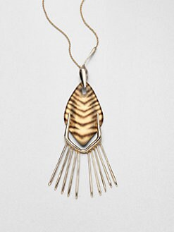 Alexis Bittar - Tiger-Striped Lucite Fringe Pendant Necklace