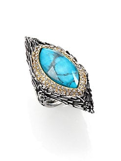 Alexis Bittar - Turquoise, White Quartz & Pave Crystal Marquis Feather Ring
