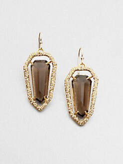 Alexis Bittar - Smokey Quartz Jeweled Shield Earrings