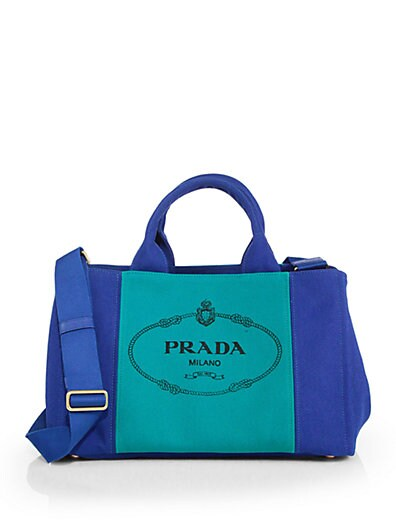 Logo-Print Bicolor Medium Canvas Tote
