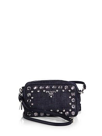 Embellished Denim Camera Messenger Bag