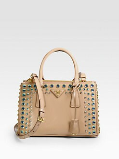 Prada - Saffiano Vernice Studded Gardner Tote